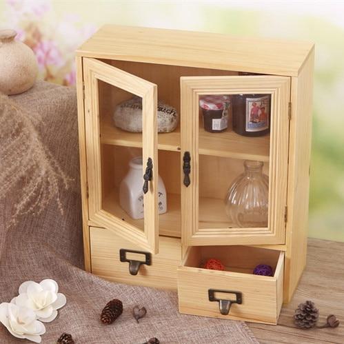 Creative Zakka Grocery Retro Wood Two Door Display Cabinet Storage