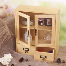 Creative zakka grocery retro wood two-door display cabinet Storage Desktop Storage cabinet wood products Specials