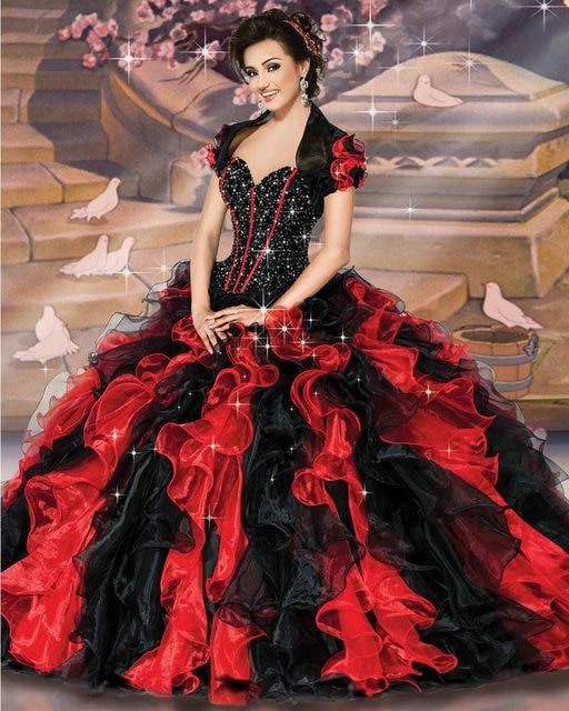 888240d1f3 41071 rojo negro vestidos de quinceañera vestidos de bola sweet 16 vestidos  de bola 2017 vestidos