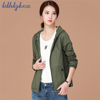 Solid Color Loose Long Sleeve Jacket Women 2018 Autumn New Fashion Fresh Ladies Casual Slim Army Green Zipper Pockets Coat LD265