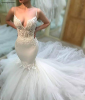 Cheap Fabulous Wedding Dress New Mermaid Sleeveless Soft Tulle Long Backless Garden Country Church Bride Bridal Gown Plus Size