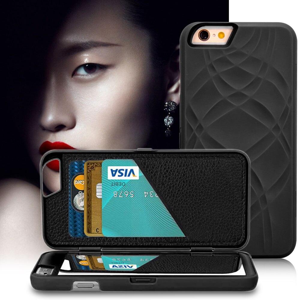 Mode dame maquillage miroir étui pour iphone 6 6 S 4.7/Plus 5.5 étuis à rabat PU cuir fente pour carte + PC dur couverture arrière double couche