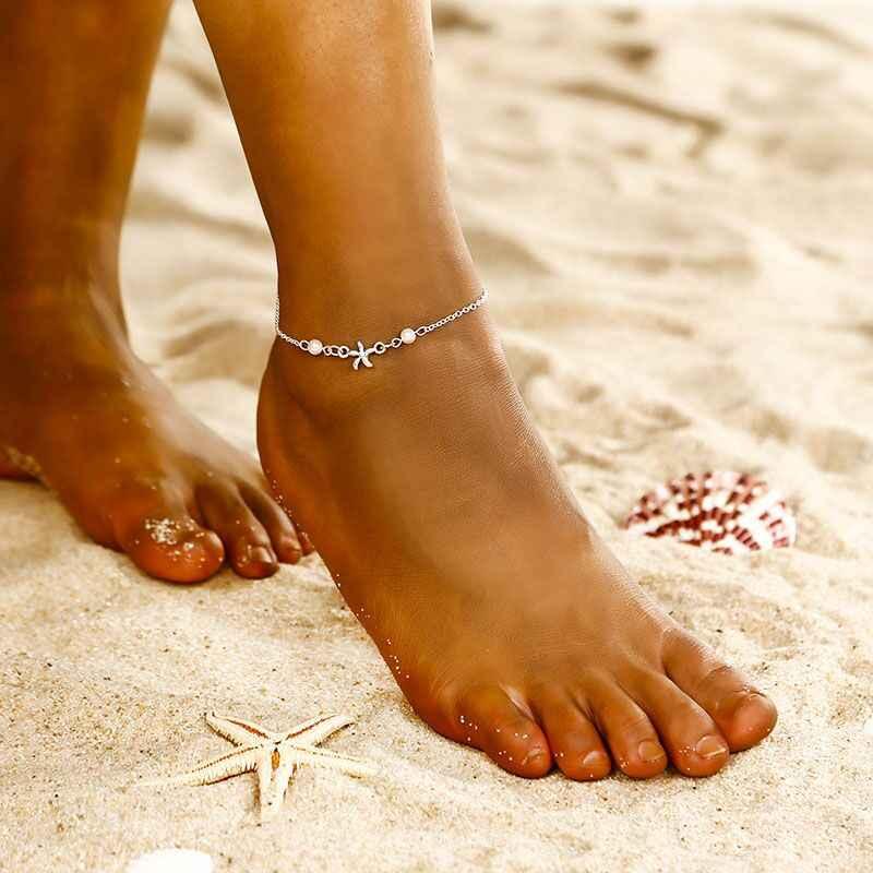 2019 אופנה חדשה בציר מרובה שכבות Anklets נשים פיל שמש תליון קסמי חבל שרשרת חוף קיץ רגל קרסול Bracel