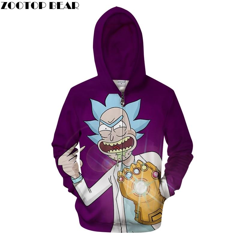 Rick Morty 3D Printed Men Zipper Hoodie Fall Funny Man Sweatshirts Hooded Morty Zip Jacket Plus Size Fashion Hip Hop Man 3D Hood