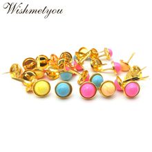 WISHMETYOU 12.5mm Gold Color Brads Base Vintage Colorful Pattern Diy Decoration Photo Album Embellishment Scrapbooking Hot Sell