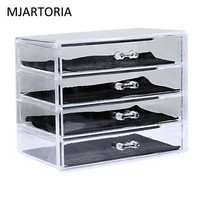 MJARTORIA Transparent Color 4 Layer Clear Make Up Display Lipstick Stand Case Cosmetic Organizer Holder Hot