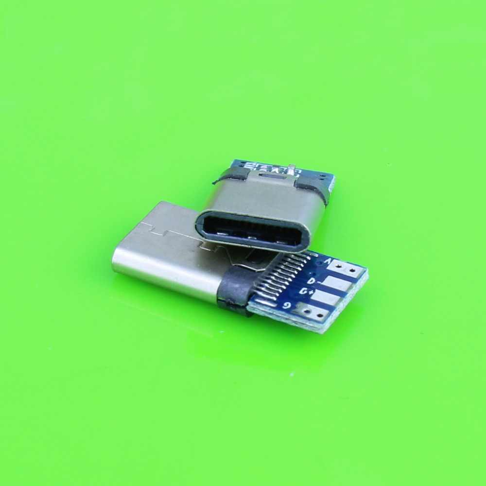DIY 24pin USB 3.1 Tipe C USB-C Pria welding solder Plug Konektor SMT Jenis