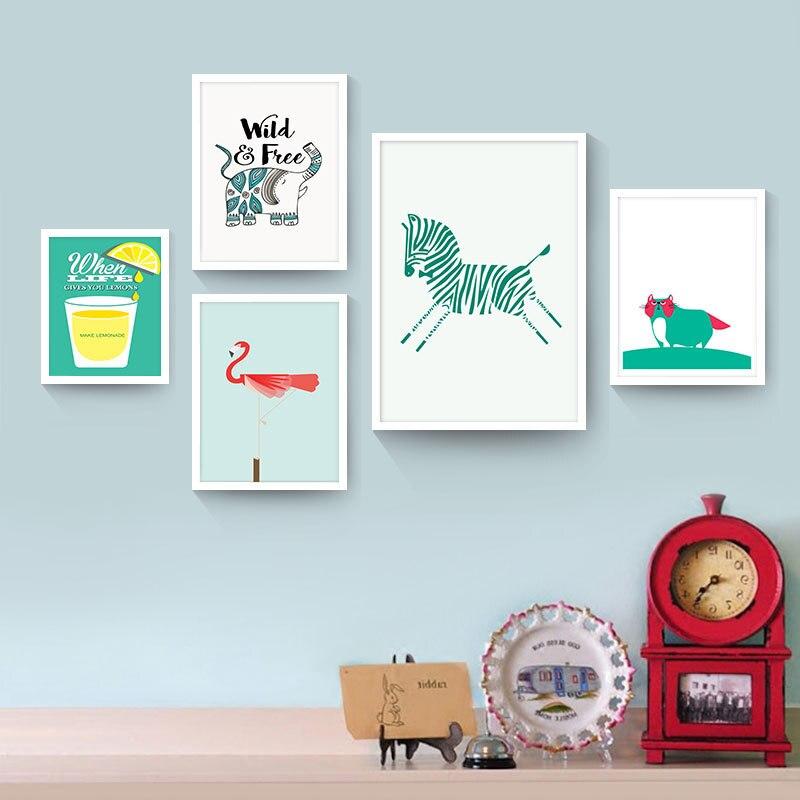 New Design Zebra Flamingos Canvas Painting Wall Art Poster