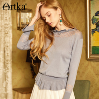 ARTKA Summer New Ruffles Hallowed out Kitted Flare Sleeve Sweater YB10482C