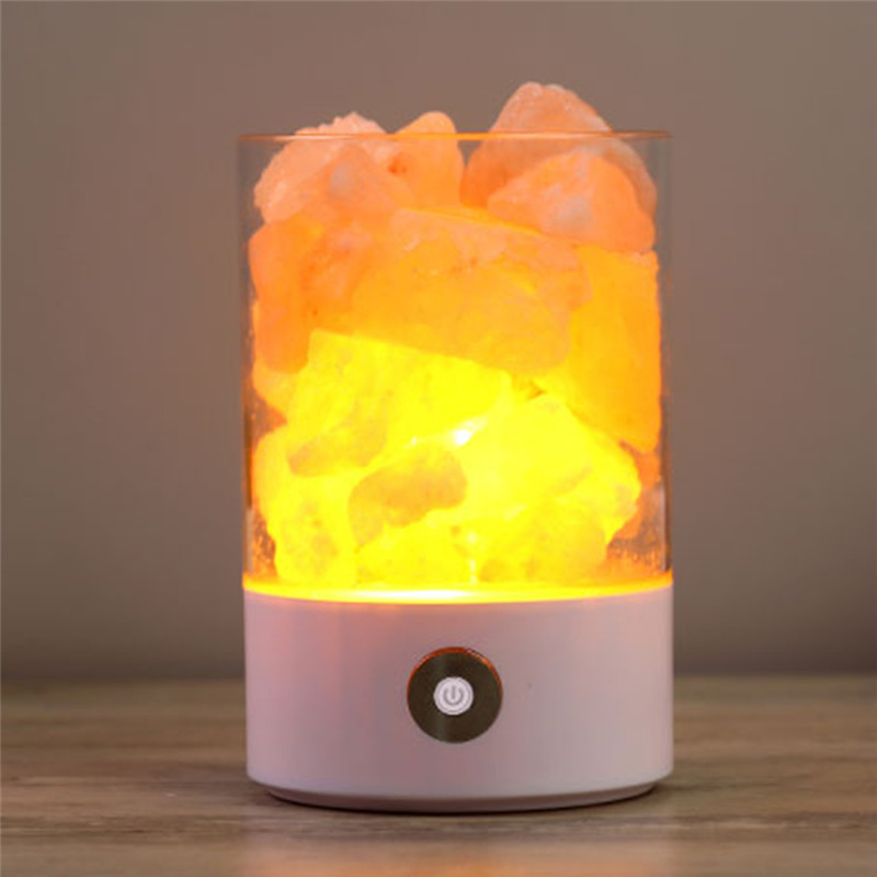 Natural Rechargeable Himalayan USB Salt Lamp Portable Design Night Light Touch Brightness Wedding Party Home Bedroom