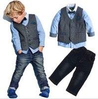 Boys Spring Cool Denim Clothes Sets Children Clothing Vest Long Sleeve Shirt Pants 3pcs Kids Handsome