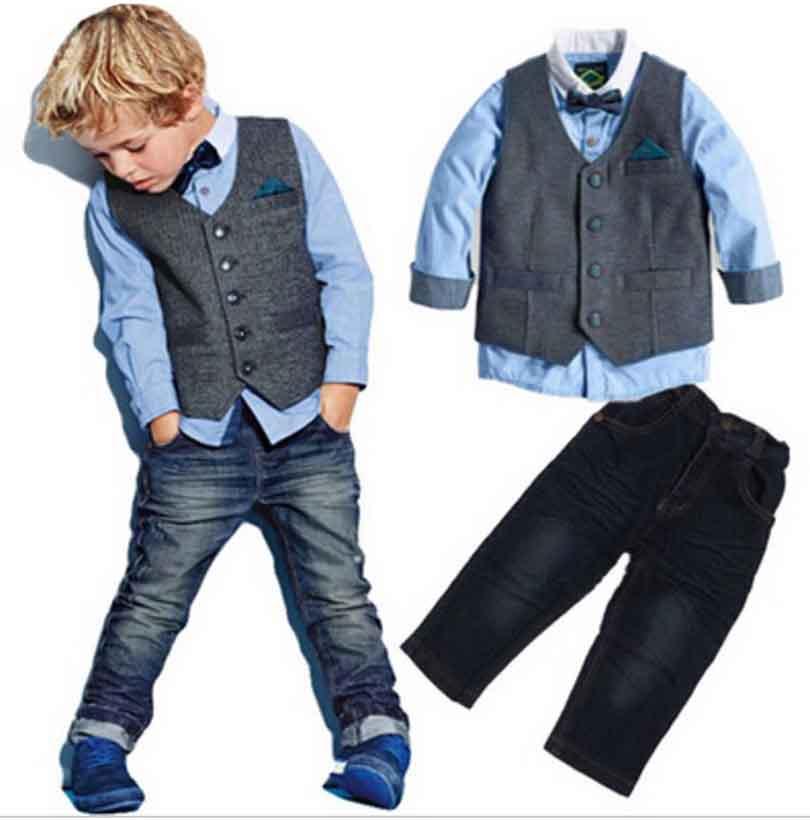 Boys Spring cool denim clothes sets children clothing vest + long-sleeve shirt+ pants 3pcs kids handsome clothes