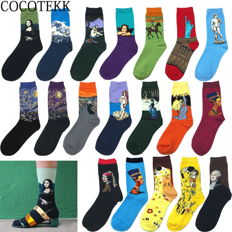 Classic Fashion Retro Abstract Oil Painting Art   Socks   Women Modern Van Gogh Starry Night Oil Painting Happy Women   Socks   Men Sox
