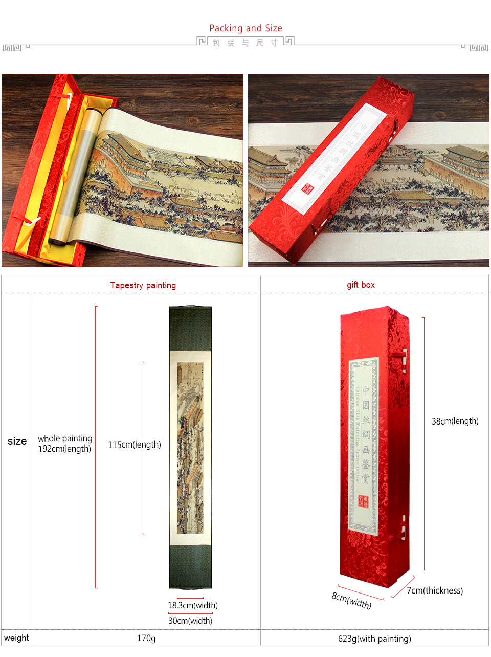 ShaoFu Silk Scroll Painting Chinese Brocade Wall Pictures Imperial Palace Panorama Colored Printing Home Office Decoration Gifts in Painting Calligraphy from Home Garden