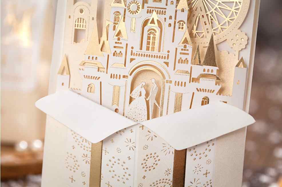 3d Love Castle Wedding Invitation Cards Customized Luxury Marriage Anniversary Invitations Card 100 Pcs Express Shipping