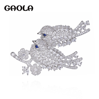 GAOLA Luxury Zirconia Crown Brooches For Women Clear Crystal Broche Dress Suit Lapel Badge Pins Decorations Jewelry GLX0285