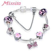 MISSITA Love Heart Series Fashion Bracelet with Lovely Pink Bowknot CZ Beads Brand for Women Anniversary Gift