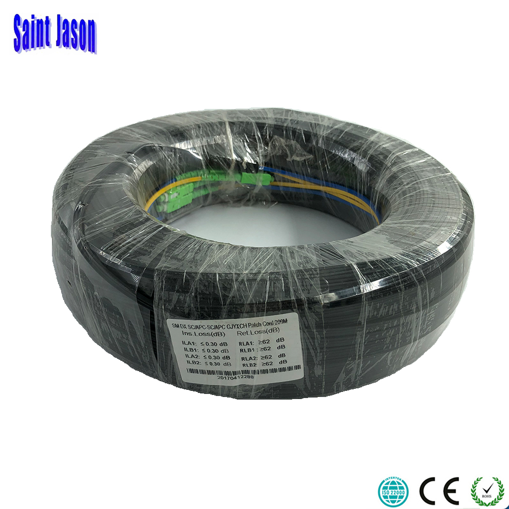 200 m En Plein Air FTTH Fiber Optique de Baisse Câble Patch Cordon SC/APC de SC/APC Duplex SM G657A2 LSZH 2 noyaux GJYXCH Baisse Câble Patch Cordon