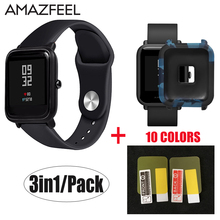 3in1/Pack For Amazfit Bip Straps Silicone Soft Wristband for Xiaomi Huami Amazfit Bip Watch Amazfit Bip Case Cover Screen Film