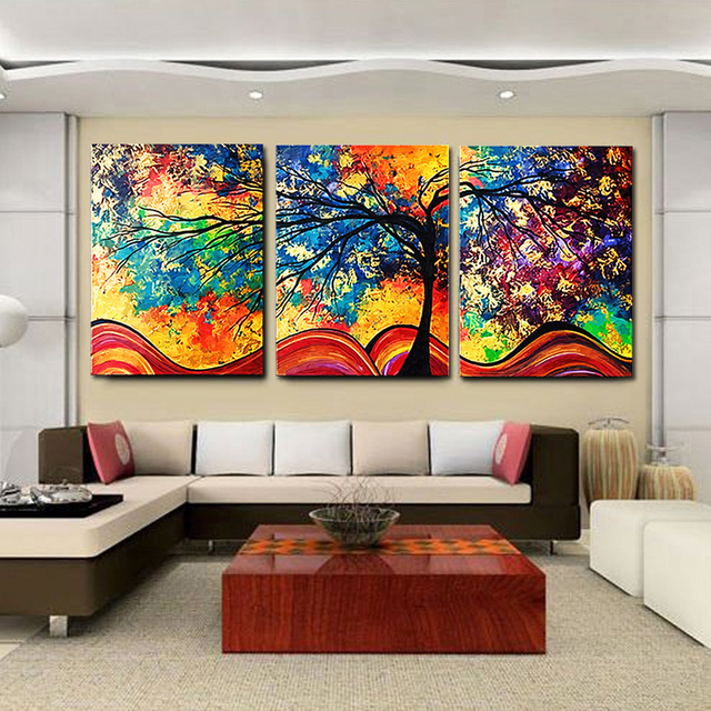 Buy 2017 new design colorful art cuadros 3 panels wall colored money trees - Cuadros murales decorativos ...