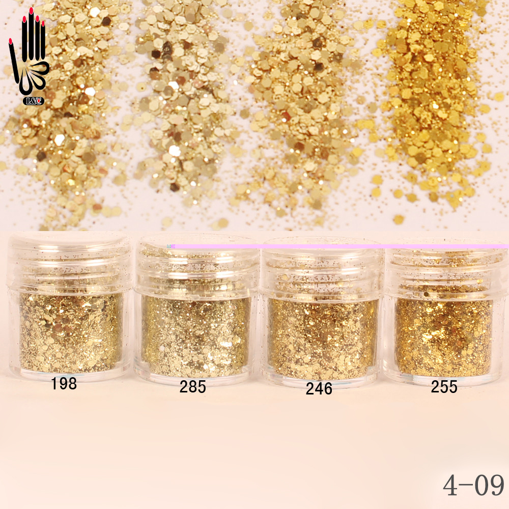 Sanft 1 Glas/box 10 Ml 3d Nagel 4 Champaign Gold Mix Nail Glitter Pulver Pailletten Pulver Für Nail Art Dekoration Optional 300 Farben 4-09 Nagelglitzer