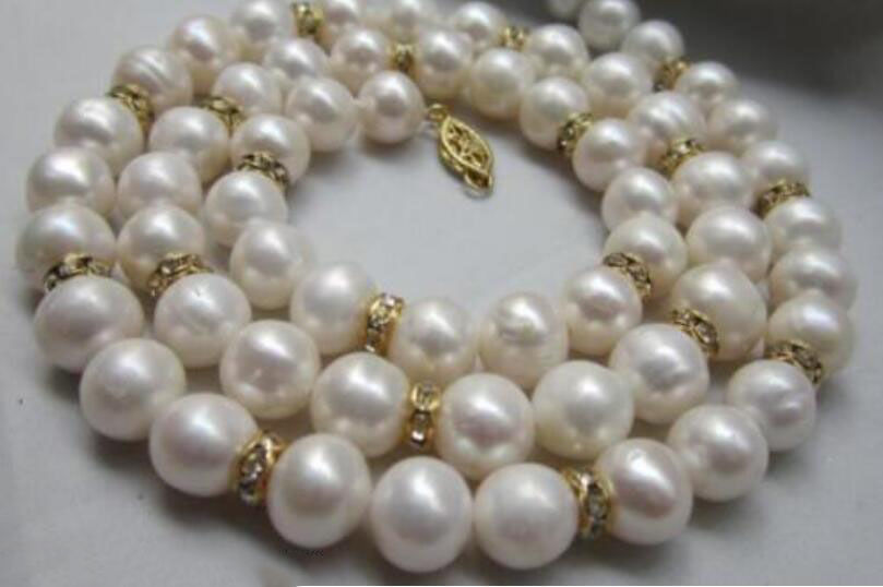 14k/20 gold Striking AAA 9-10mm real natural south sea white pearl necklace 22 цена