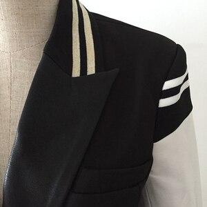 Image 4 - Hoge Kwaliteit Nieuwste Fashion 2020 Designer Blazer Vrouwen Lederen Patchwork Double Breasted Blazer Classic Varsity Jacket