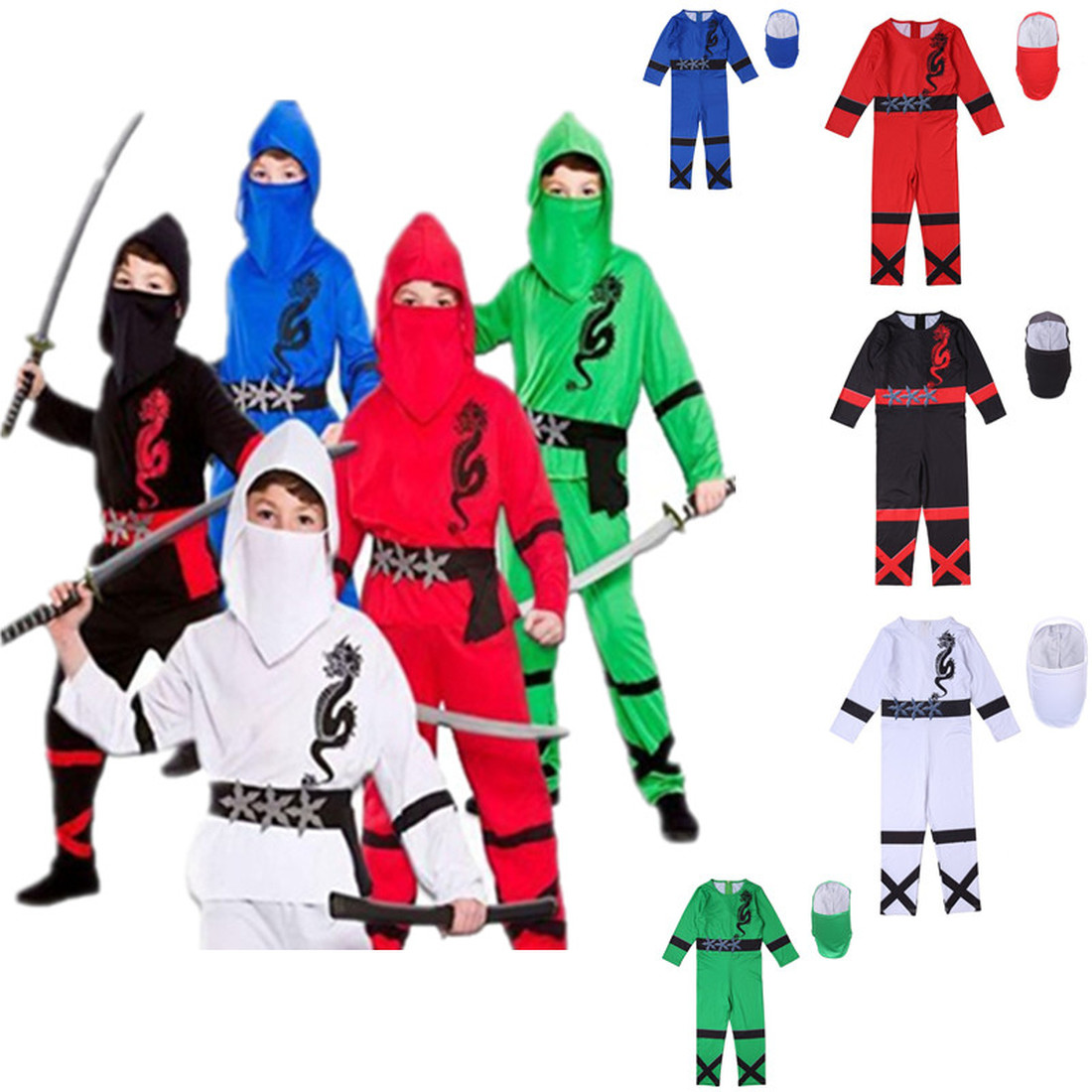 Kids Ninjago Cosplay Costume Boys Clothes Children Halloween Party Dress Up Costume Kids Ninja Cosplay Superhero Jumpsuits Sets