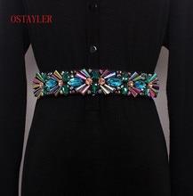 Colorful Glass Rhinestone Corset Belt Crystal Flower Bead Waist Belts Women Waist Belt Accessories Ladie Corset Strap Waistband