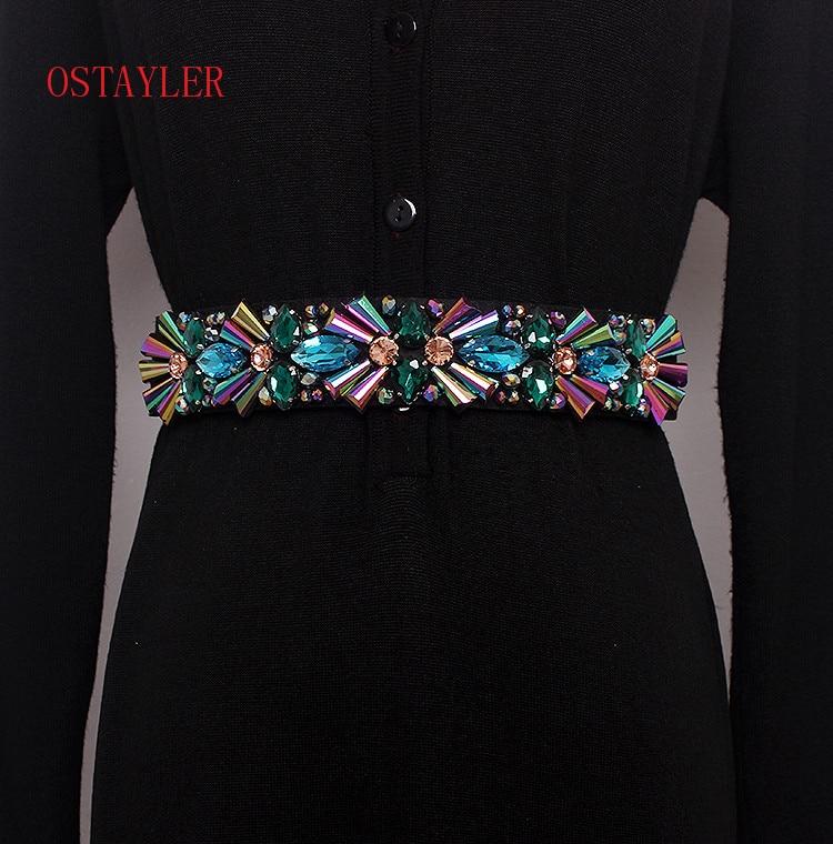 New Design Colorful Rhinestone Crystal Flower Bead Waist Belts Women Waist Belt Accessories Ladie Corset Strap Waistband