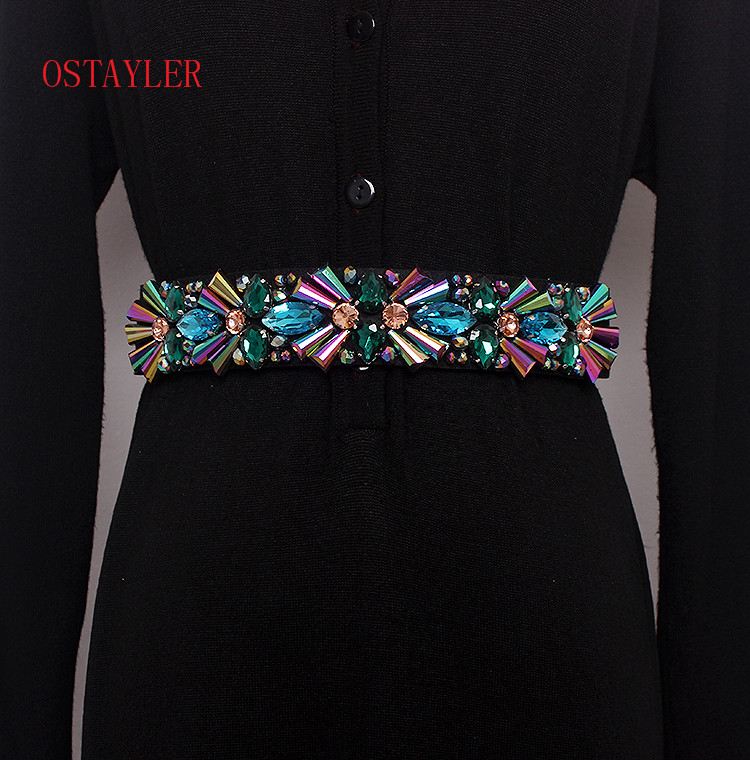 New Design Colorful Rhinestone Crystal Flower Bead Waist   Belts   Women Waist   Belt   Accessories Ladie Corset Strap Waistband