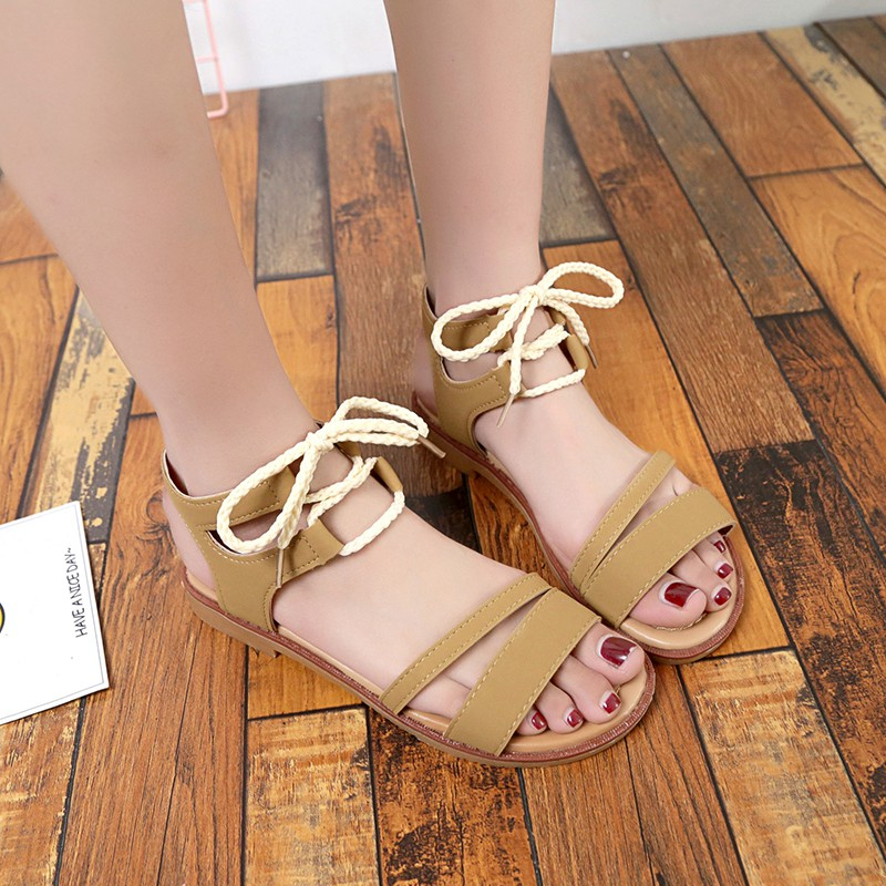 a6f72d80b0b87a COOTELILI 35 39 Fashion Summer Flat Shoes For Women Korea Style Beach  Gladiator Sandals Women Flip Flops Ladies Black Beige-in Low Heels from  Shoes on ...