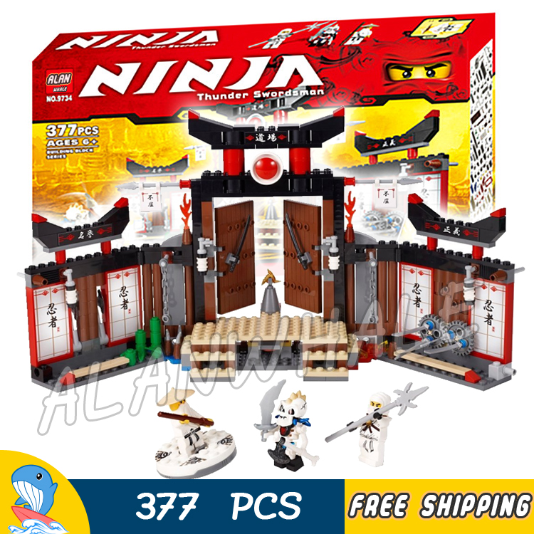 ФОТО 377pcs Bela 9734 Ninja Spinjitzu Dojo Building Blocks Model Toys Sensei Wu Zane Bricks Compatible With lego