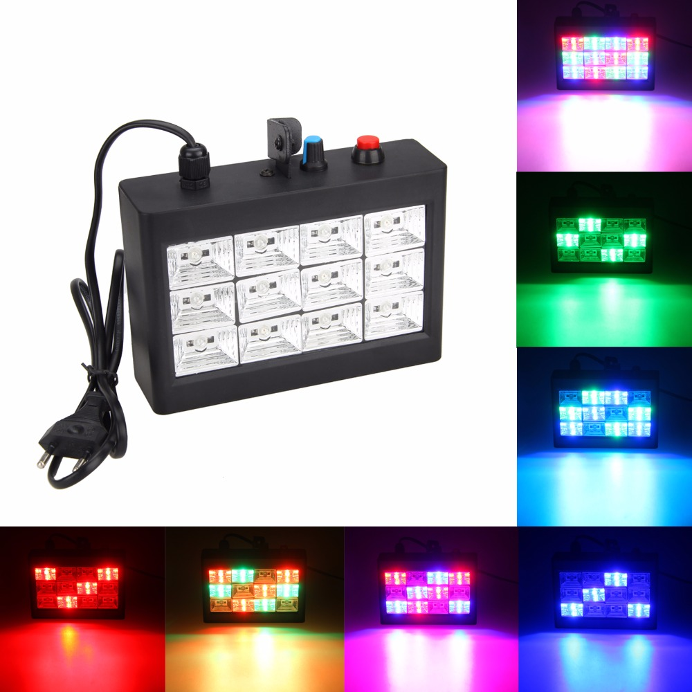 20W AC100-240V 12pcs  RGB LED Strobe Stage LighFlashlight for Disco Party DJ Strobe Light Sound Activated Stage Lighting Effect rg mini 3 lens 24 patterns led laser projector stage lighting effect 3w blue for dj disco party club laser