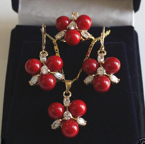 New 8mm Coral Red South Sea Shell Pearl GP Crystal Earrings Pendant Ring A Set