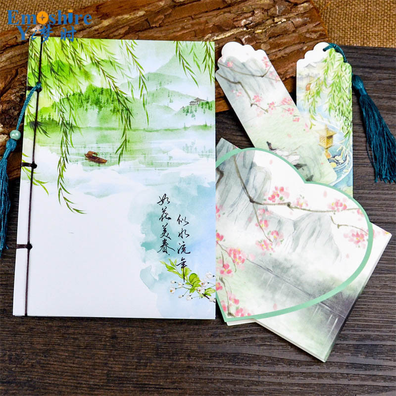Kraft Paper Notebook Stationery Creative Retro Ancient Chinese Fine Exquisite Gift Diary Note Book Wholesale Memo Pad N057 emoshire 4 set of notebooks stationery creative gift bag chinese style retro memo pad diary note book notepad n059