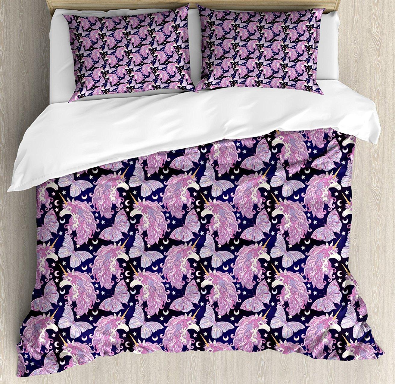 Единорог постельное белье мифическое животное с красочными грива бабочки звезды полумесяцы мир фантазий 4 шт. Постельное белье