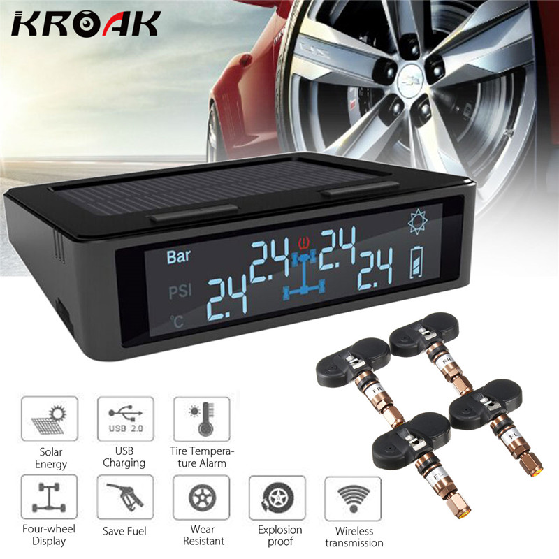 Car Solar font b TPMS b font Tire Tyre Pressure Monitoring Intelligent System Wireless LED Display