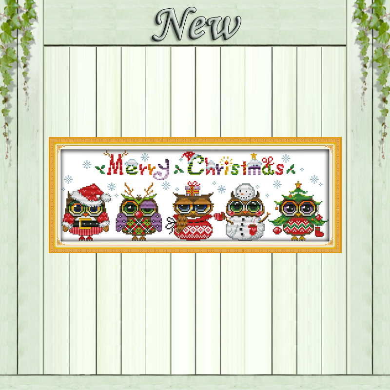 Christmas Owls Cartoon Diy Crafts Painting Counted Print On Canvas DMC 11CT 14CT Kit NKF Cross Stitch Embroidery Needlework Sets
