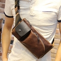 Fashion Crossbody Bag Brown Mens Leather Casual Messenger Chest Bag Cross Body Travel Waterproof Bags Bolsos