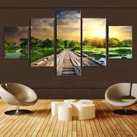 No Frame 5 Panel Modern Mural Paintings Print Wooden Trestle Sunrise Landscape Wall Art Picture For