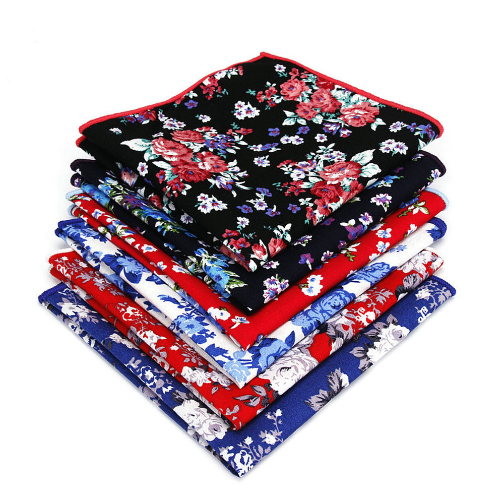 Men's Tuxedo Flower Print Handkerchief Wedding Gentleman Business Pocket Square YFTIE0227