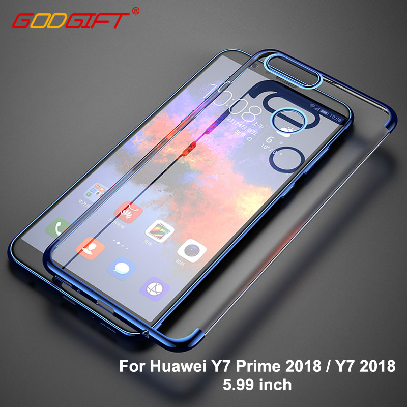 GodGift Huawei Y7 Prime 2018 Case 5.99 inch Luxury Huawei Y7 2018 Silicone Soft Cover For Huawei Y 7 Prime 2018 Back Cover Cases