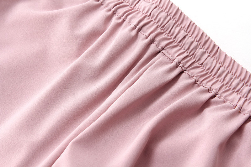 Chiffon Elastic Waist Solid Color Office Pants 20