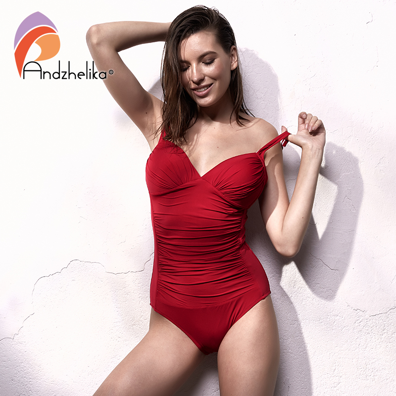 ab737773e08 Andzhelika One Piece Swimsuit 2018 Women Swimwear Solid Beach Plus Size  Bodysuits Vintage Retro Fold Bathing Suits Monokini-in Body Suits from  Sports ...