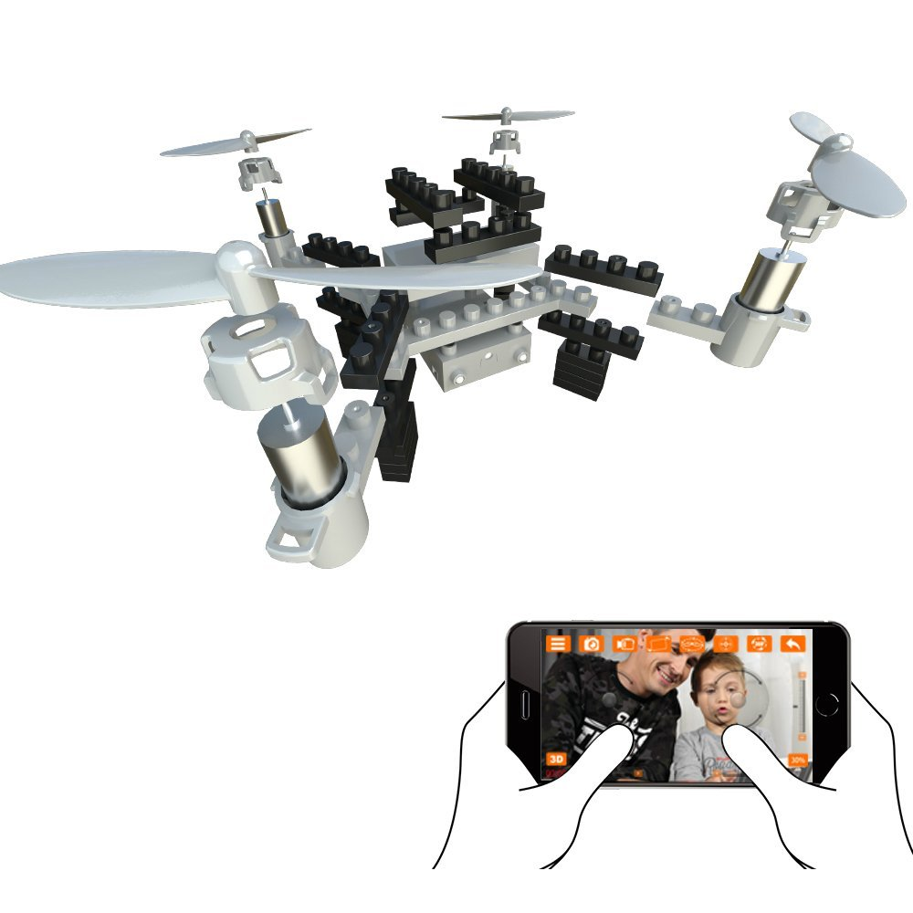 EBOYU(TM) M3HW RC <font><b>Drone</b></font> <font><b>FPV</b></font> Wifi DIY Blocks RC Quadcopter Altitude Hold Remote Control <font><b>Drone</b></font> W/ 1MP HD Camera RC Helicopter image