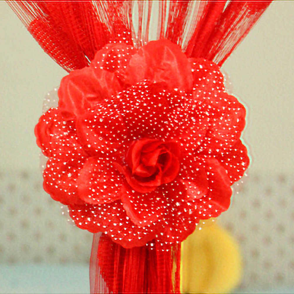 Best 13CM Big Peony Flower Curtain Clip-on Tie Backs Holdback Babysbreath Tieback Home Curtain Decoration with 50cm belt