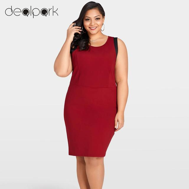 exclusive deals latest releases low price sale US $16.7 42% OFF|Sexy Women XXXL Plus Size Bandage Dress Sleeveless Summer  Dress Color Splice O Neck Zipper Elegant Party Straight Mini Dresses-in ...