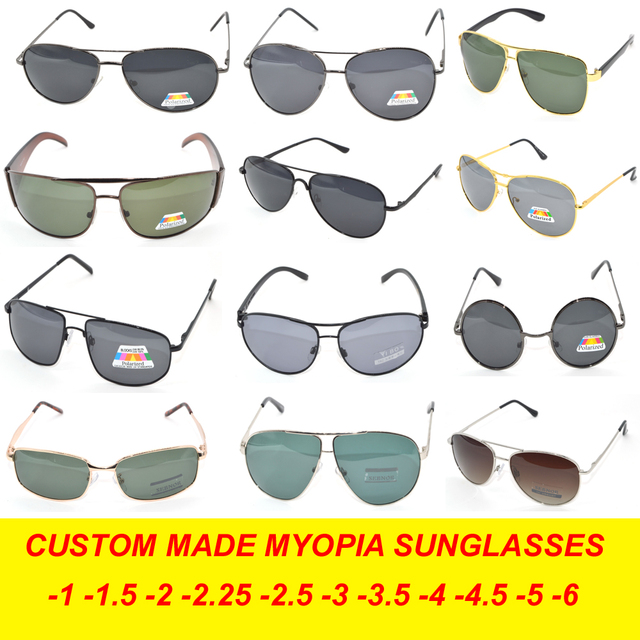 MAKE GLASSES BY CHOOSE FRAME Custom Made Nearsighted Minus Prescription Polarized Sunglasses-1 -1.5 -2 -2.5 -3 -3.5 -4