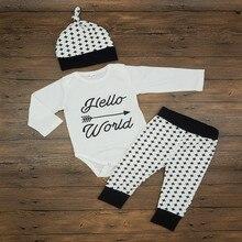 2016 New Fashion Baby Boy Clothing Set (Romper+Hat+Pants) Infant Newborn Baby Girls Clothes Suit Roupas De Bebe
